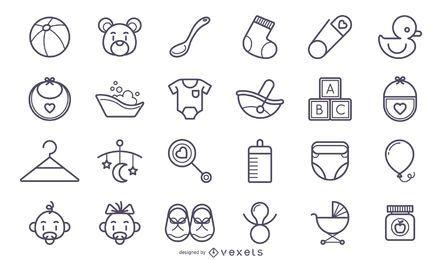 Conjunto de iconos de lindo bebé accidente cerebrovascular