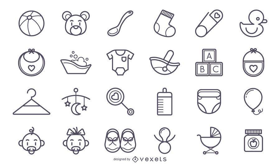 Conjunto lindo de iconos de bebé de trazo