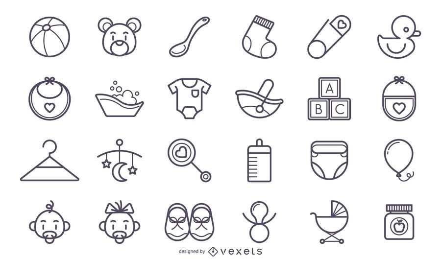 Cute stroke baby icons set