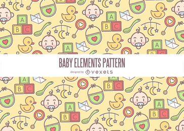 Patrón de elementos de bebé colorido
