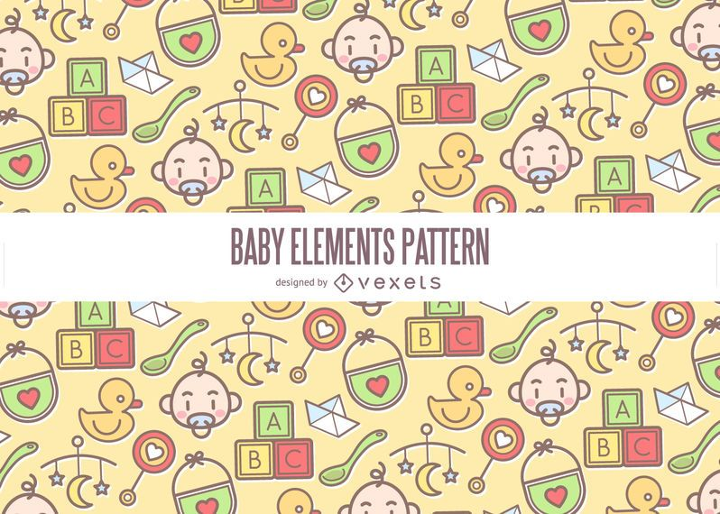 Colorful Baby Elements Pattern Vector Download Custom Baby Patterns