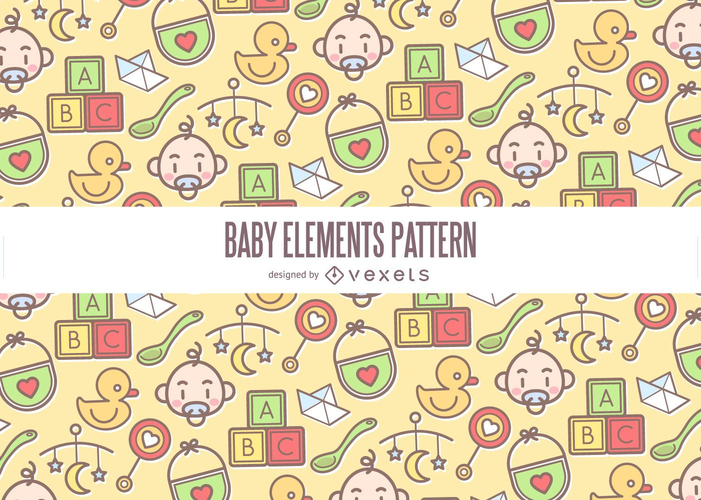 Colorful baby elements pattern