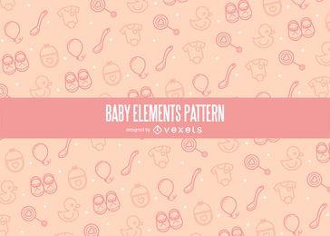 Patrón de elementos de bebé de trazo