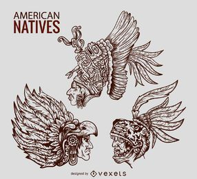 American natives chieftain illustrations