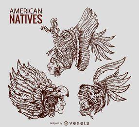 Nativos americanos caciques ilustraciones