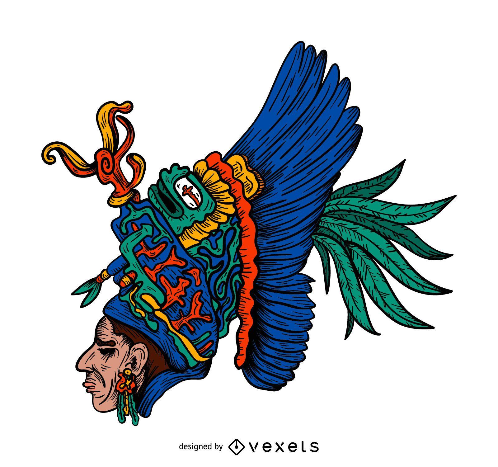 American native chieftain head illustration