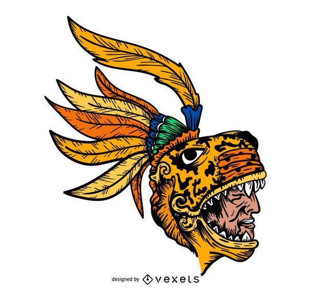Ilustración de cabeza de cacique azteca