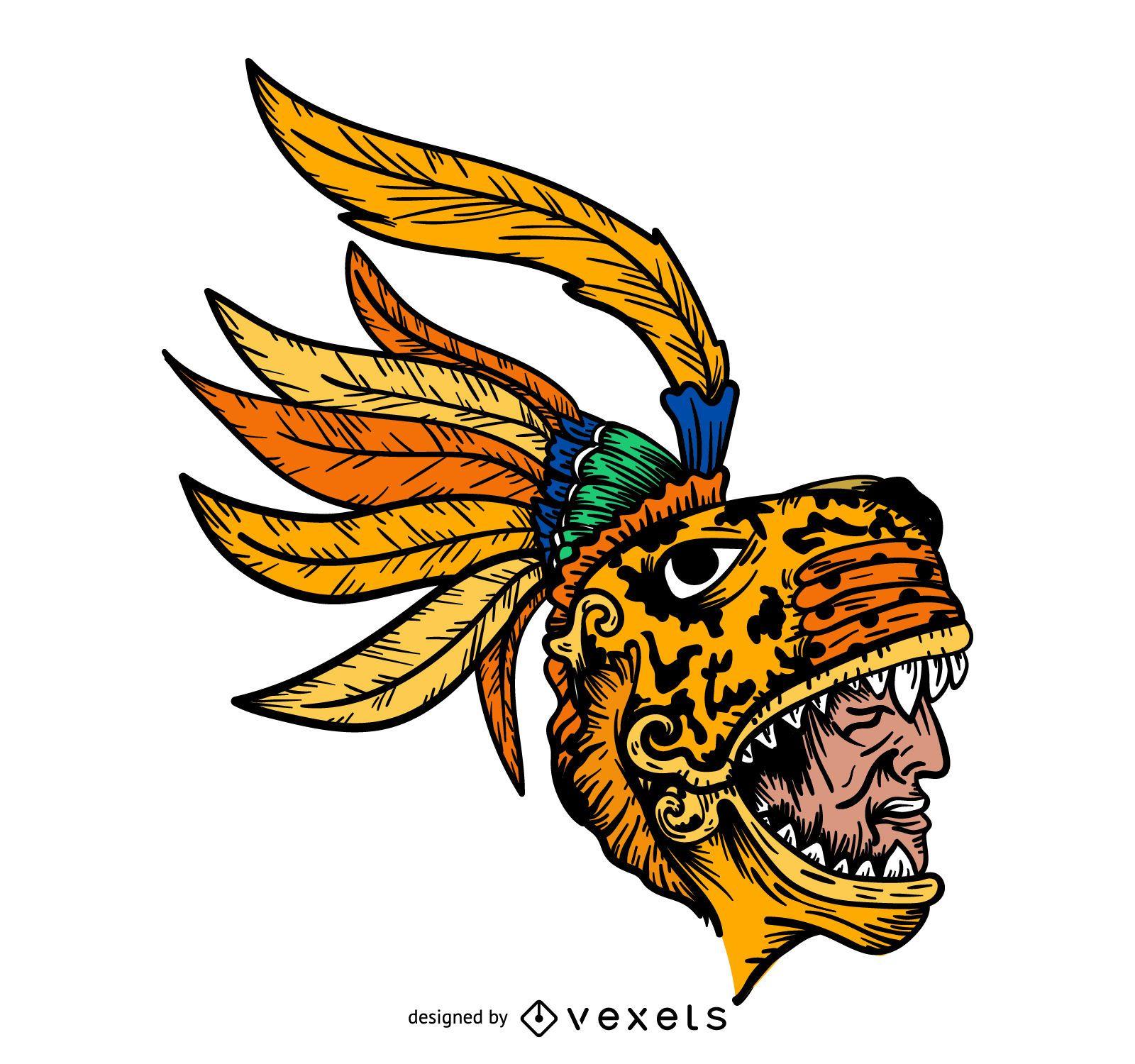 Aztec chieftain head illustration