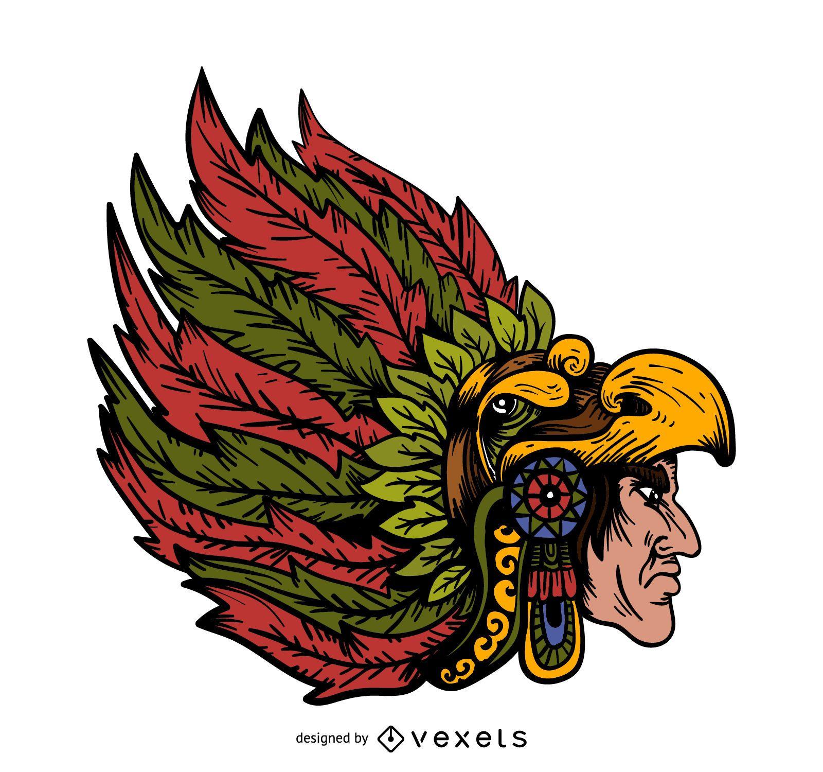Indian chieftain head illustration