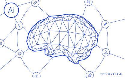 Inteligência artificial, cérebro, rede, desenho