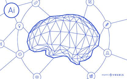 Inteligencia artificial diseño de red cerebral