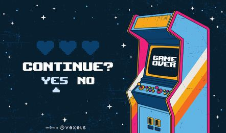 Game over arcade illustration