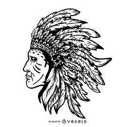 Trazo de cacique nativo americano
