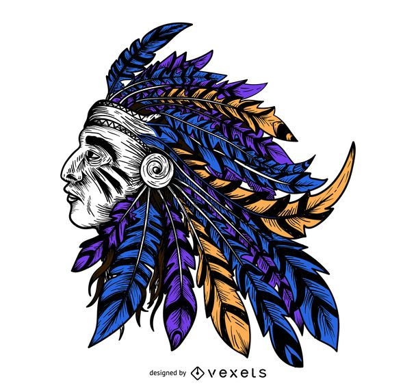 Indian colorful headdress illustration