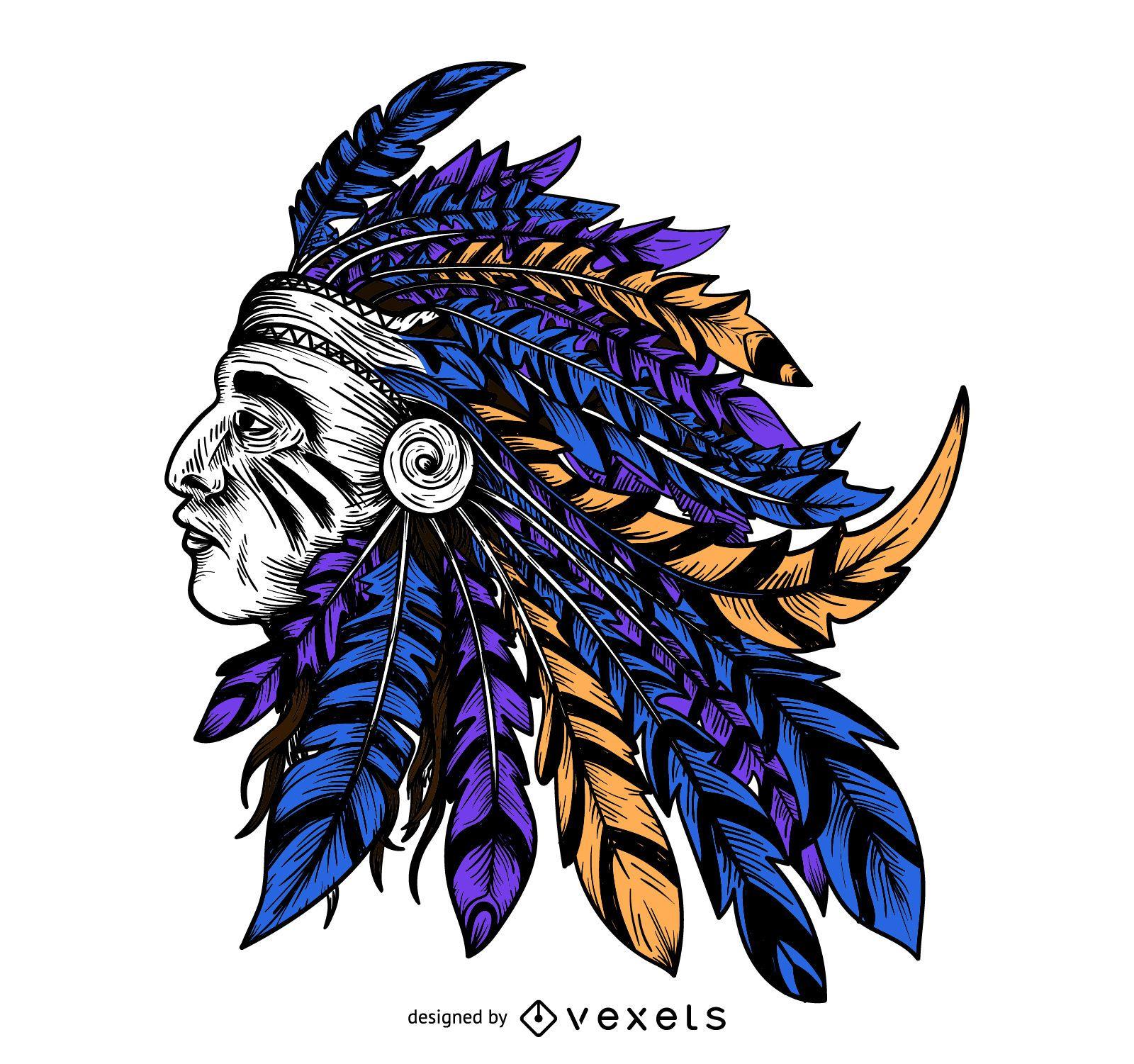 Indian colorful headdress illustration