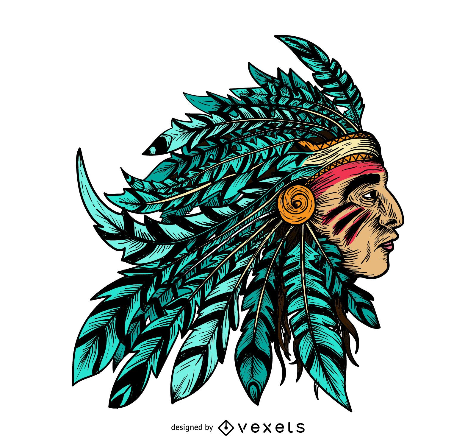 native american chief illustration vector download
