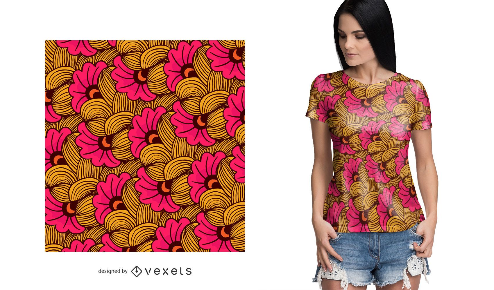 Colorful floral African pattern