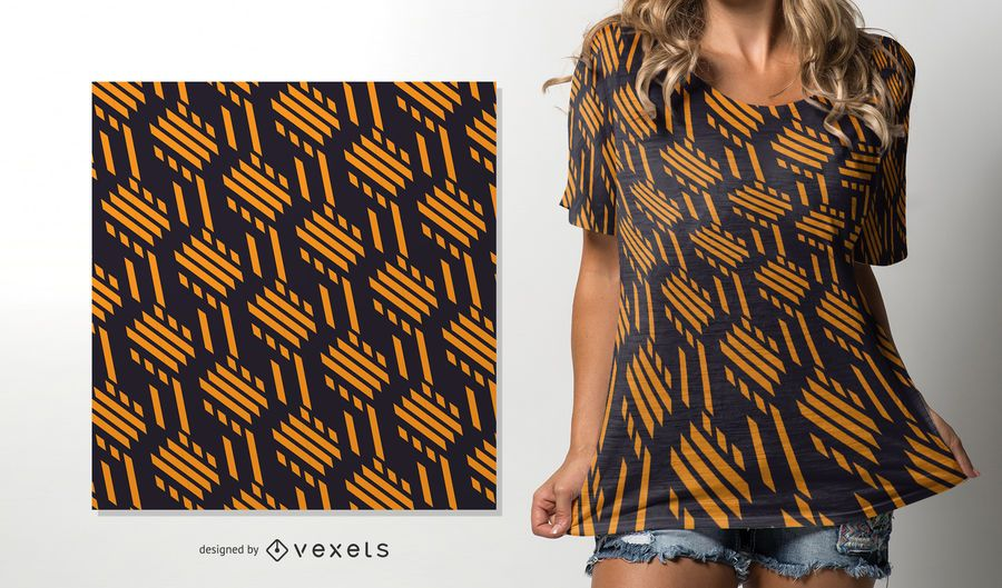 Yellow lines seamless African pattern