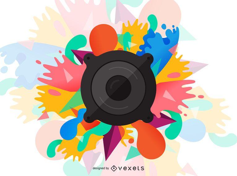 Ilustración de salpicaduras de pintura de altavoz de audio