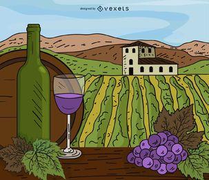 Ilustração dos desenhos animados da propriedade vinhedo