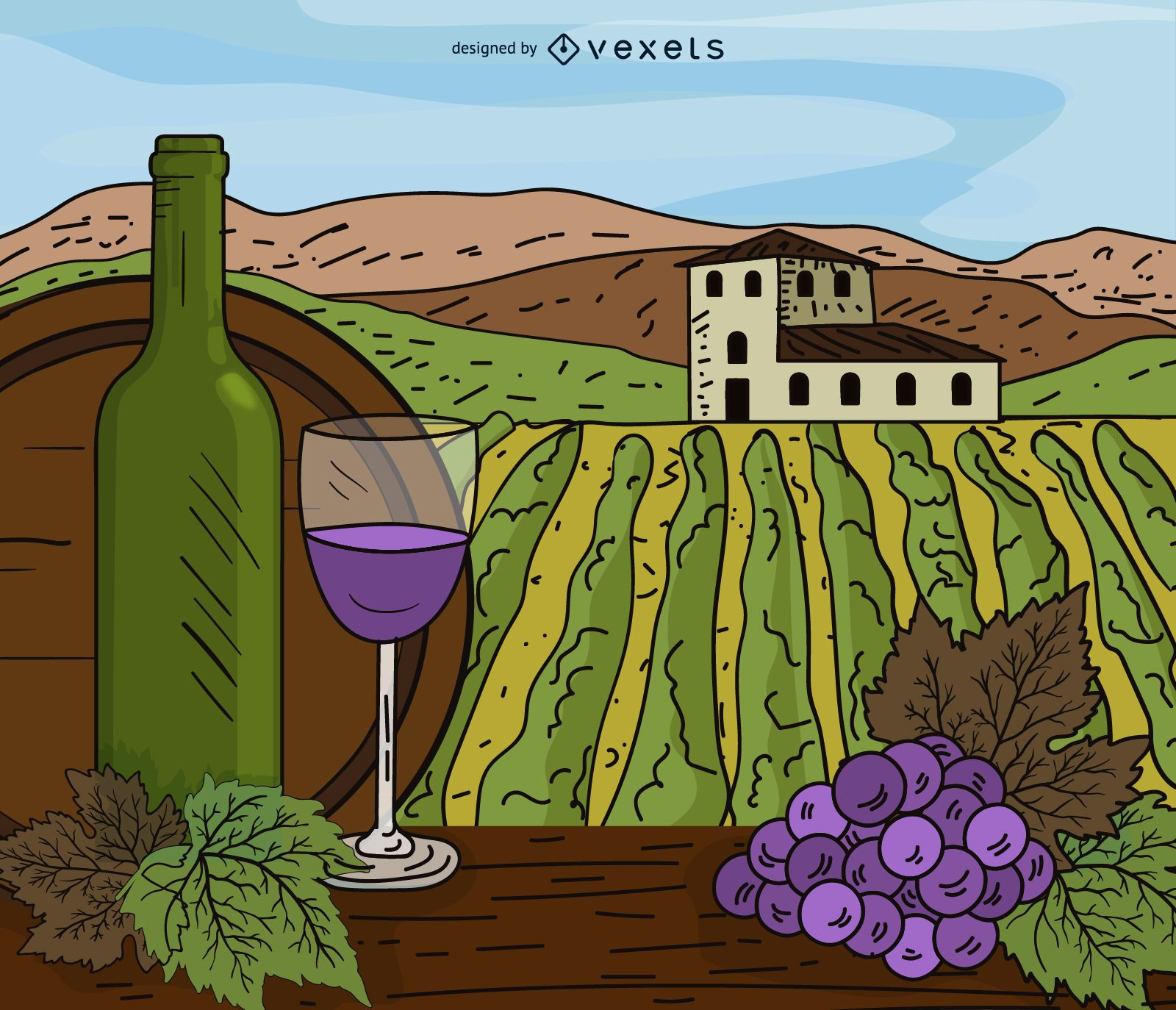 Vineyard estate cartoon illustration