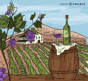 Weinchateau-Karikaturillustration