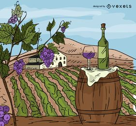 Wine chateau cartoon illustration