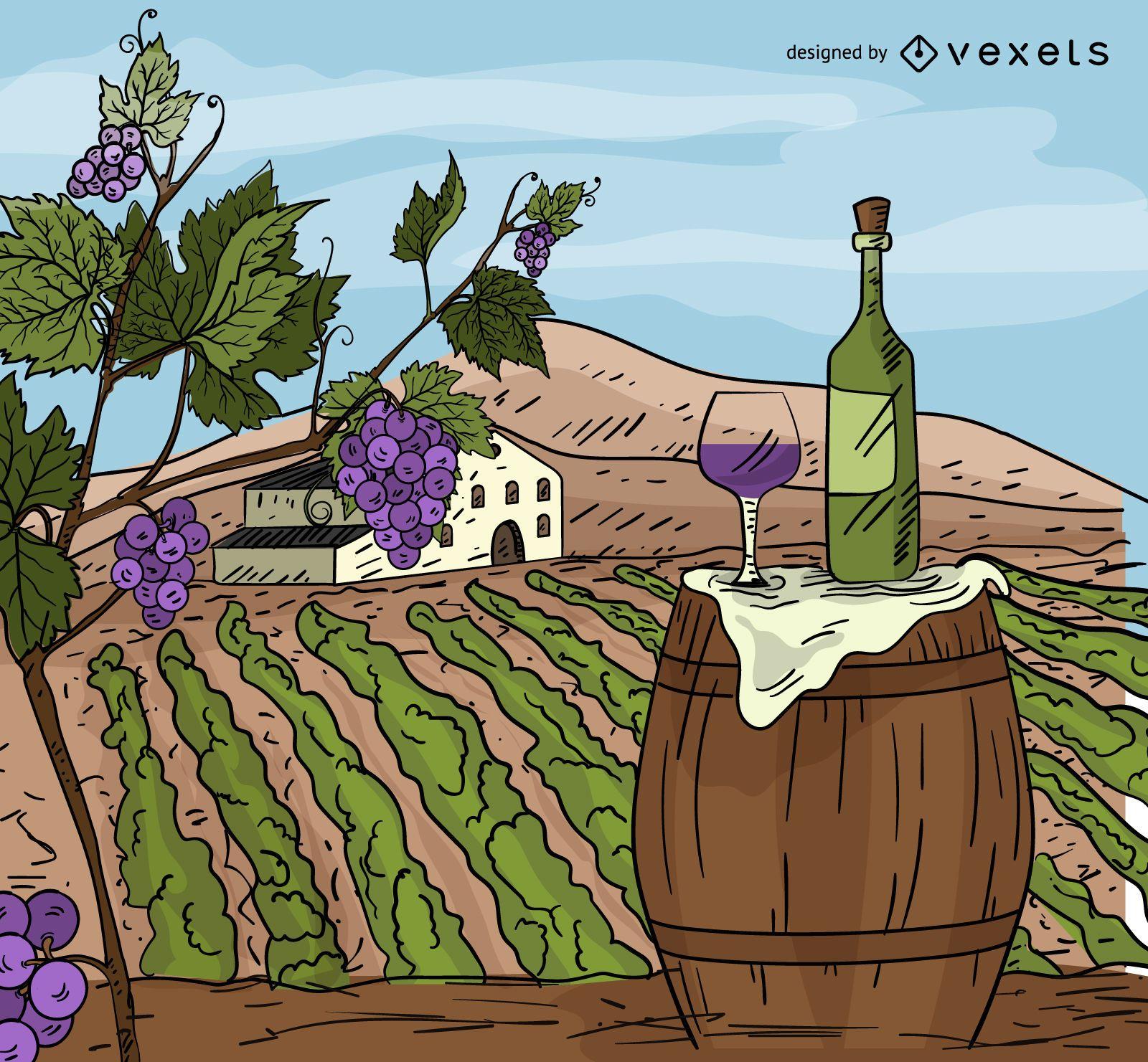 Wine chateau cartoon illustration