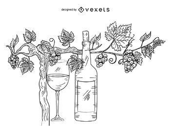 Grape vine and wine illustration