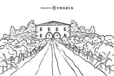 Ilustración de trazo de finca vinícola