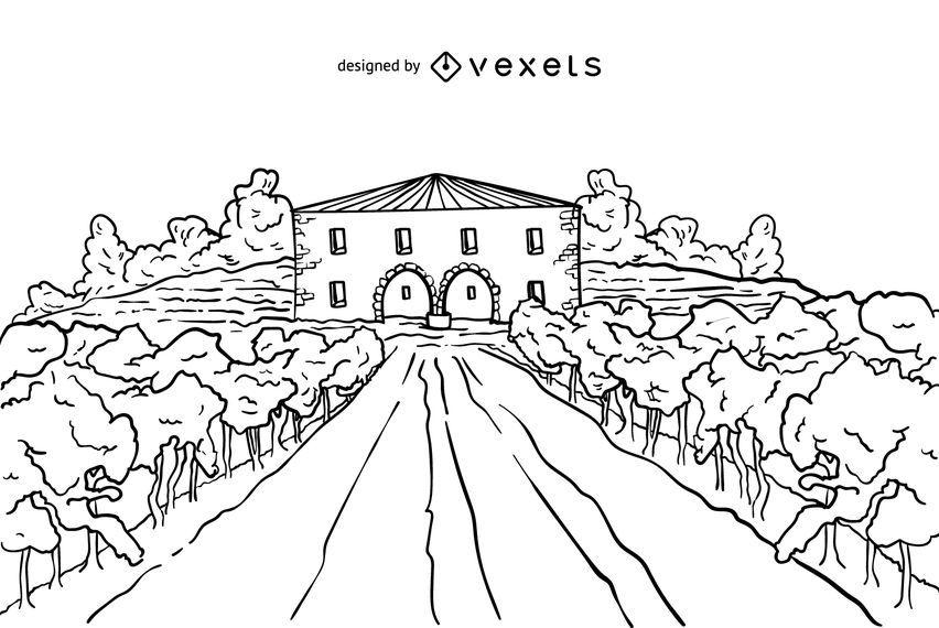 Ilustração de traçado de propriedade de vinho