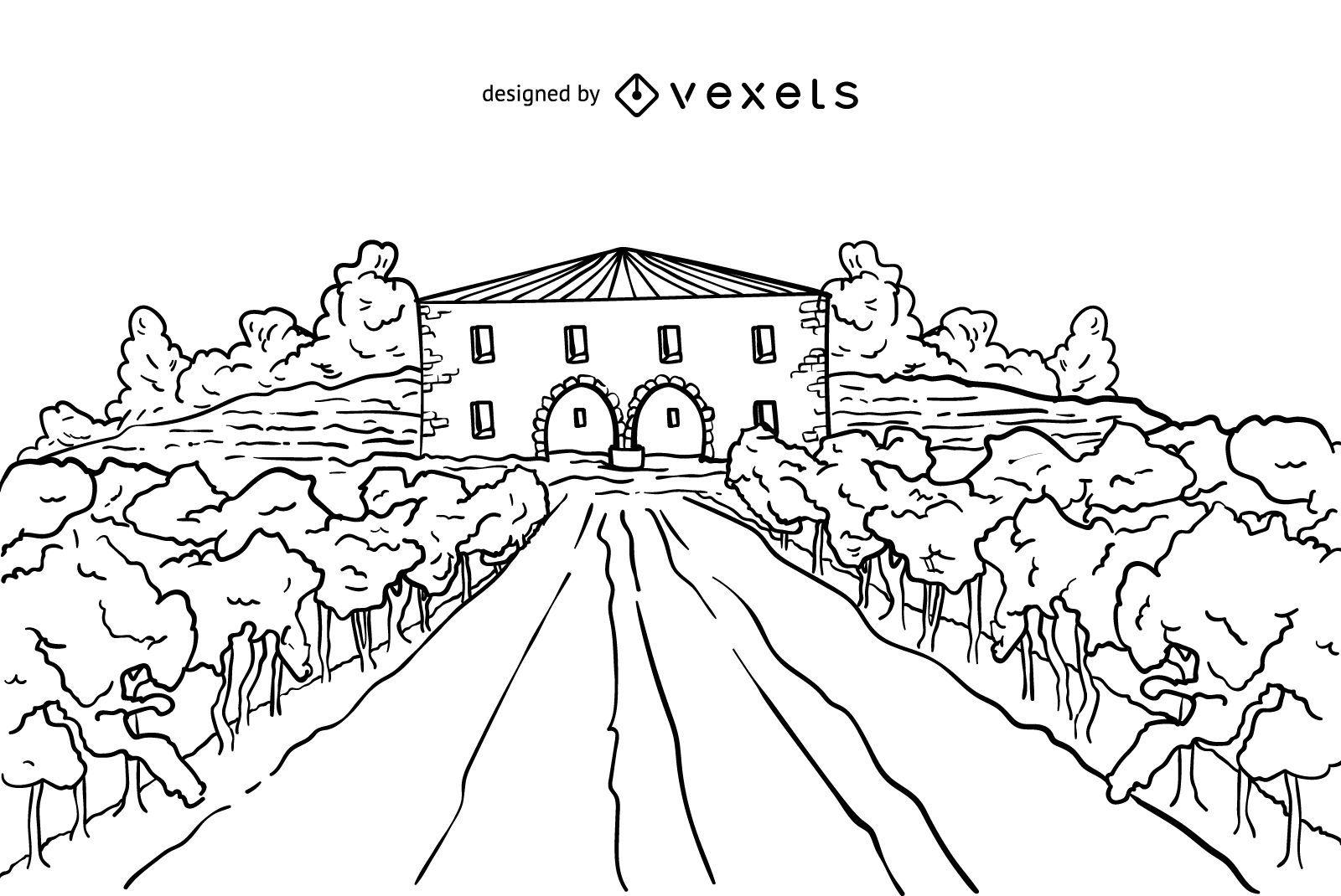 Wine estate stroke illustration