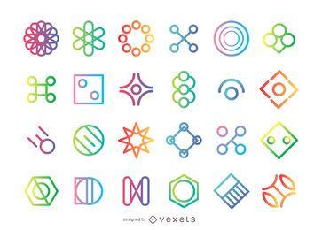 Conjunto de logotipo de forma geométrica