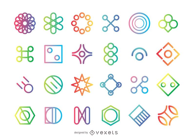 Geometrical shape logo set
