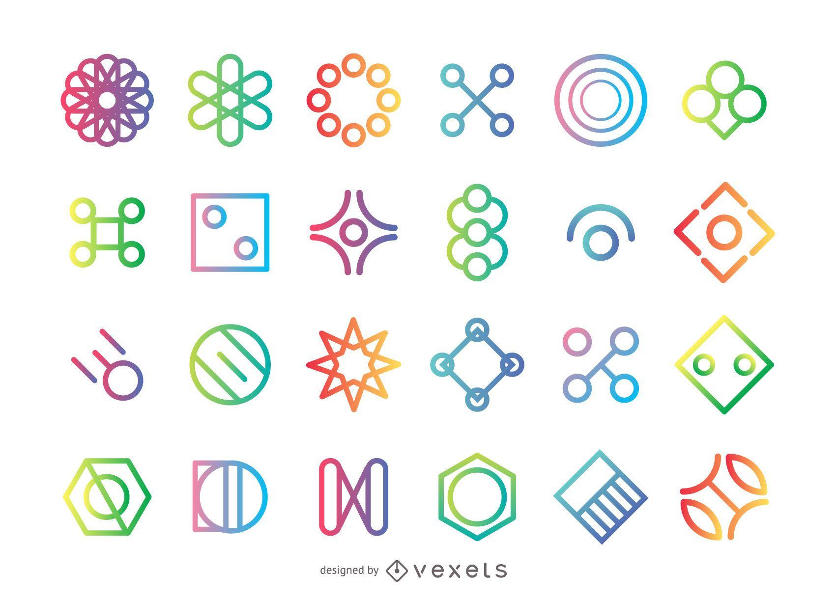 Geometrical shape logo set
