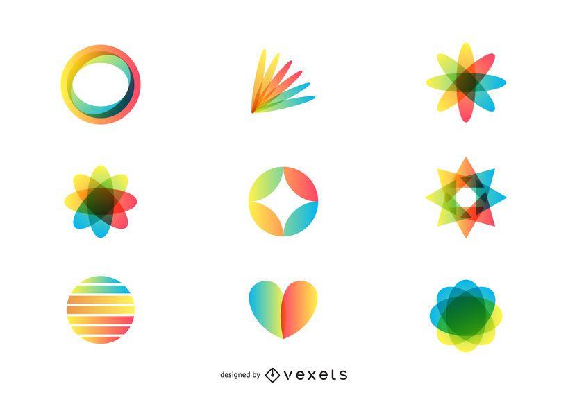 Conjunto de logo de arte 3d