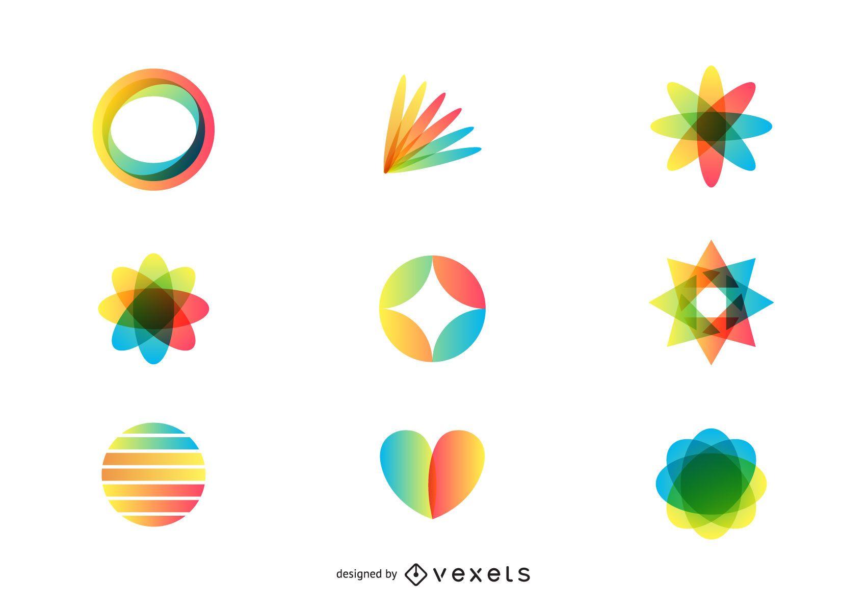 3d art logo set