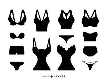 Conjunto de silueta de ropa interior de lencería de mujer