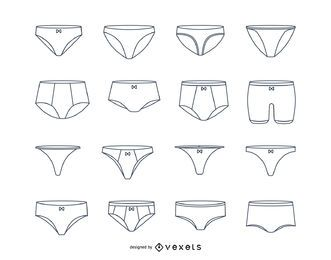 Conjunto de trazo de ropa interior de mujer