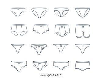 Conjunto de trazos de ropa interior de mujer