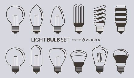 Light bulb stroke icon set