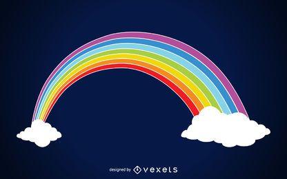 Ilustración del arco iris en las nubes