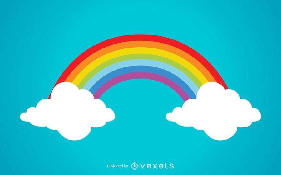 Ilustración colorida del arco iris