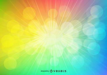 Fondo de explosión de luz de arco iris