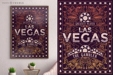 Design de cartaz do jogador de Las Vegas
