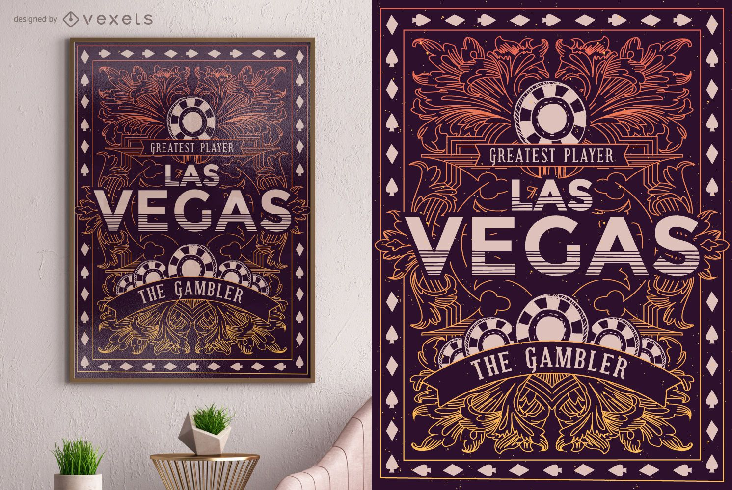 Dise?o de cartel de jugador de Las Vegas