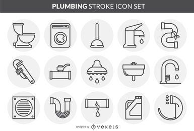 Conjunto de iconos de trazo de plomería