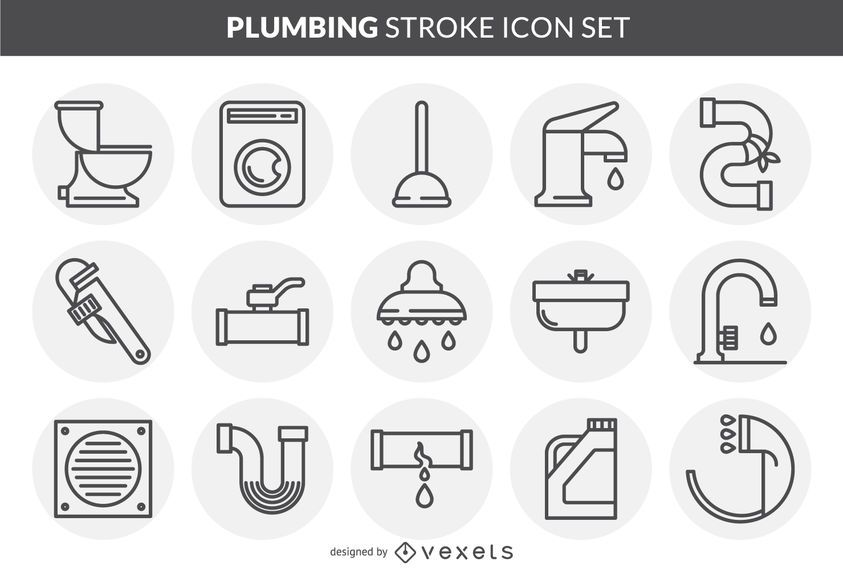 Plumbing stroke icon set