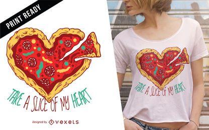 Diseño de camiseta de corazón de pizza