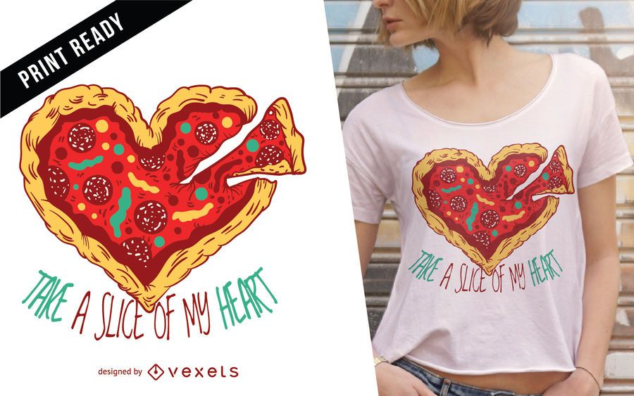 Pizza heart t-shirt design